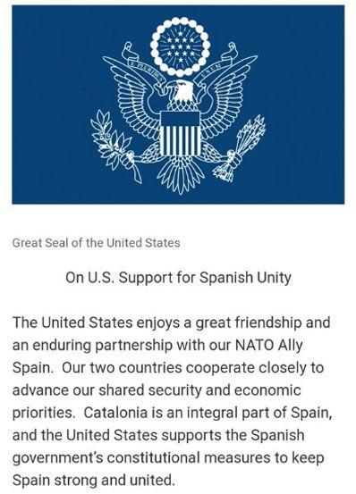 Declaración de apoyo del gobierno de Estados Unidos al gobierno de España en el caso del procés.
