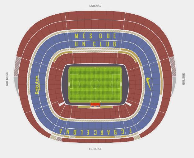 Overzicht van de beschikbare plekken in Camp Nou