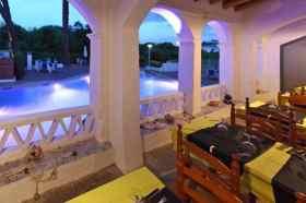 Restaurant en verlicht zwembad camping Globo Rojo