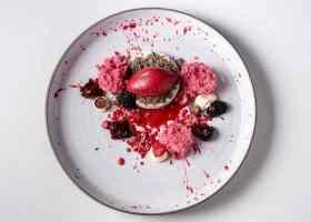 Roze, kleurexplosie, bord, wit