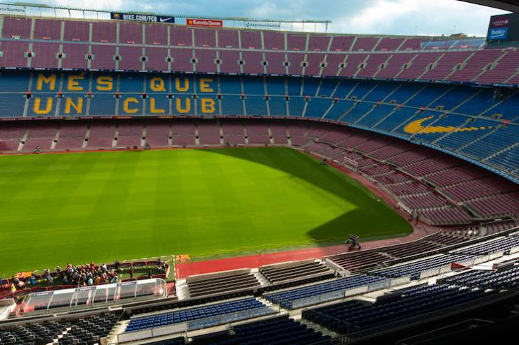 Uitzicht vanaf de tribune in Camp Nou