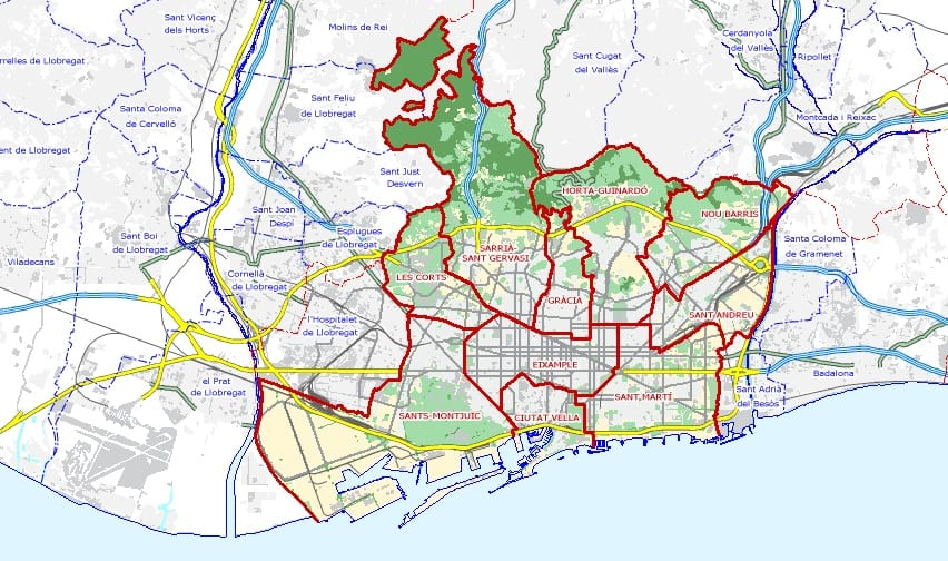 Kaart met alle disctricten van Barcelona