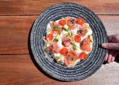 Vis, tomaat, bord, rood, kleur