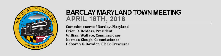 Barclay Town Meeting – April 18th 2018