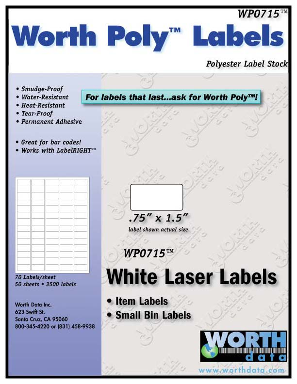 Worth Poly Polyester Laser Label Stock - Worth Data