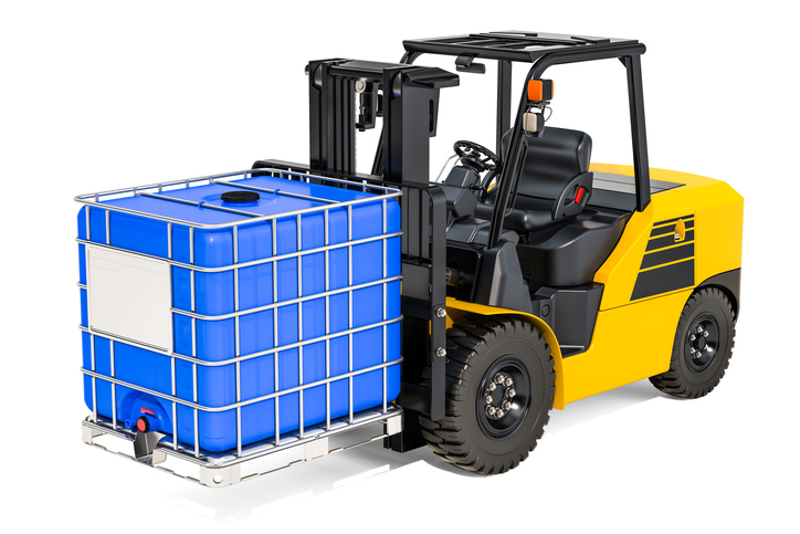 IBC Tote on forklift