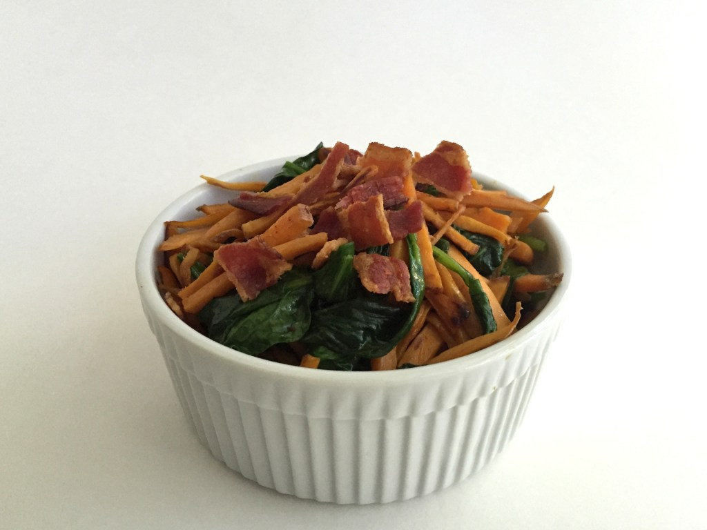 Sauteed Spinach and Sweet Potato Strings