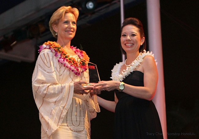 Roxanne Darling receiving her Pacific Edge Award for Best Social Media Campaign, photo by Tracy Chan
