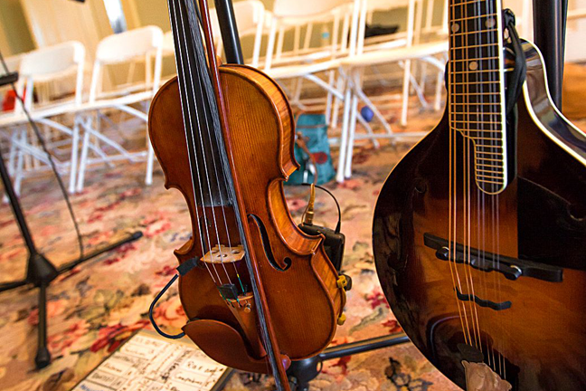 T Bruce's fiddle and mandolin