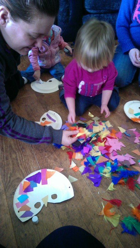 Gather together some children, paper plates, paper and glue...
