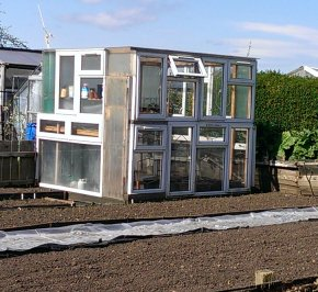 Greenhouse made from double glazing samples