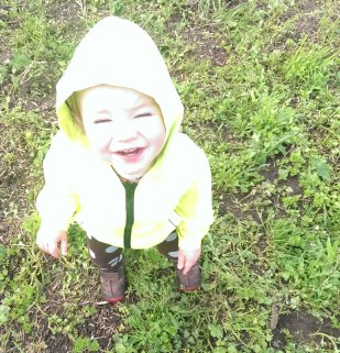 PK laughing as he wanders about in the rain