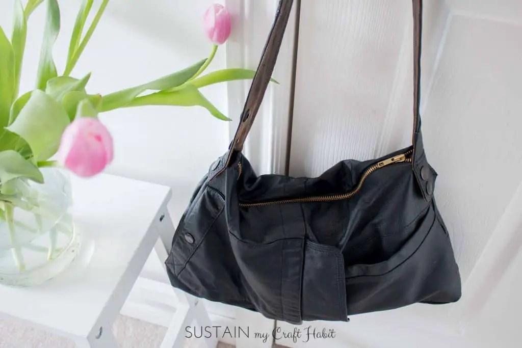 diy leather bag upcycle clothing