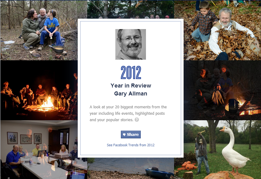 Facebook 2012 Your Year in Review screen