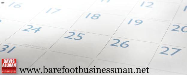 Photograph of a generic calendar page overlaid with the Davis-Allman logo and www.barefootbusinessman.net URL