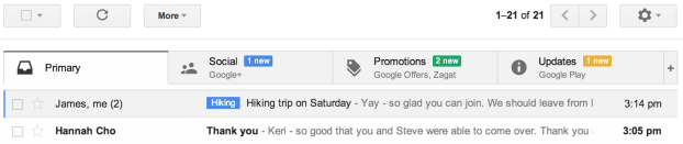 Screen grab of the new gmail inbox - may 2013 from the gmail blog