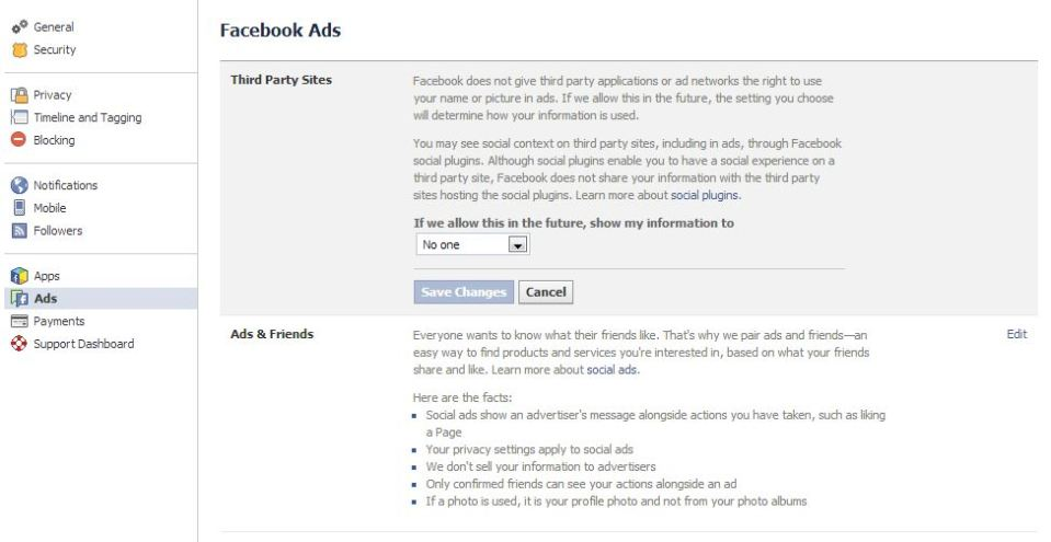 Screen Capture of the Facebook Ads Settings