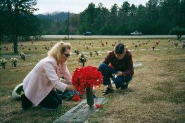 Julie and Veronica at Grandmas grave_small
