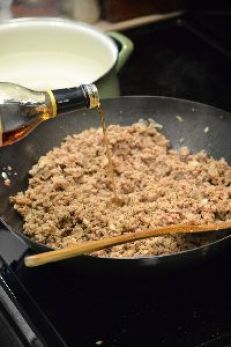 adding the marsala to the ground turkey and sausages_small