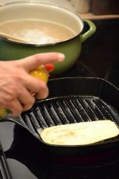 cooking the eggplant in a cast iron grill pan_small
