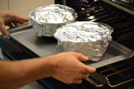 place the foil over each one and place onto a cooking sheet to cook on_small