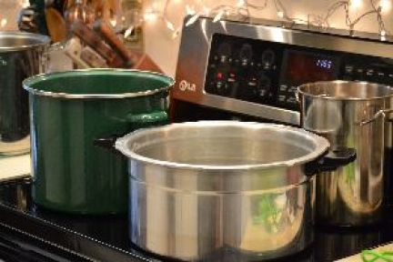 all of our pots boiling on the stove top_small