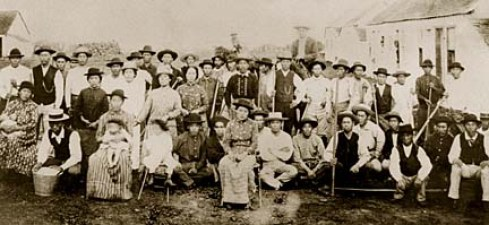 Early plantation workers. PHOTO FROM STATE ARCHIVES. COPY PHOTO BY DENNIS ODA. MAY 26, 1999. FRAME #1A.