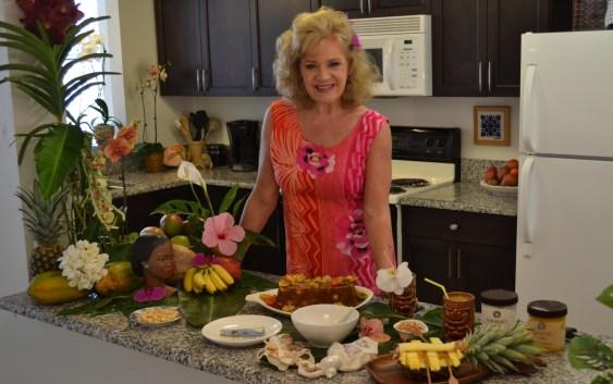 Julie's Vintage Hawaiian Mango/Mac Nut Bread/Cake w/Pasta Flowers
