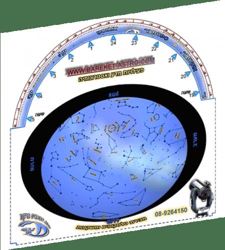Planisphere Israel star map מפת כוכבים סובבת לשמי ישראל