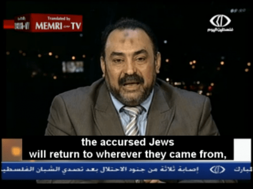 """Ali Abd Al-Fattah, a Muslim Brotherhood leader in Egypt says, """"The Accursed Jews Will Return To Wherever They Came From And The Arab Land Will Be Completely Cleansed of Zionist Filth"""""""
