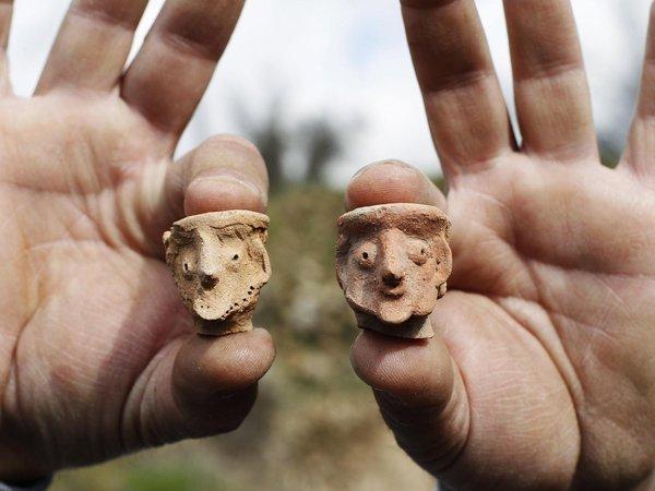 Figurines found at Tel Motza archaeological site