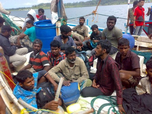 Asylum seekers refuse to leave boat in Indonesia The Australia-bound boat was found stranded off Indonesia's Sumatra island. The 50 passengers refused to leave the boat and have threatened a hunger strike if they are not allowed to continue the journey to Australia.