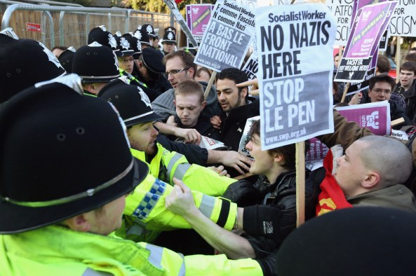 Left Wing Fascists were out in force protesting free speech