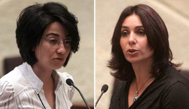 Israeli Arab MK Hanin Zoabi (left) and Likud MK Miri Regev (right).