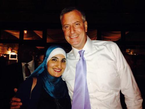 De Blasio with Islamic supremacist Linda Sarsour