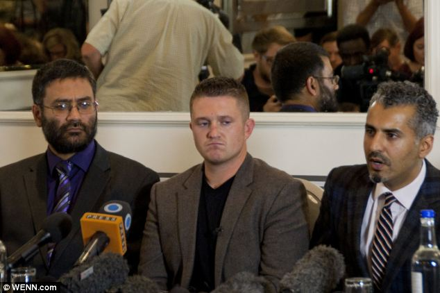 Robinson was flanked by Maajid Nawaz, Chairman and co-founder of the Quilliam Foundation (right) and Usama Hasan, also of the group (left), at the press conference