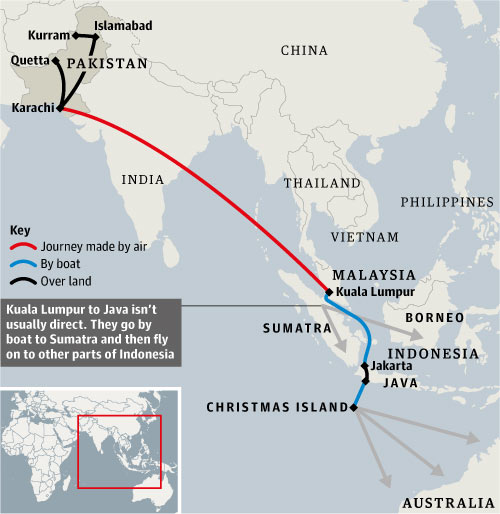 Graphic showing the route taken by the refugees