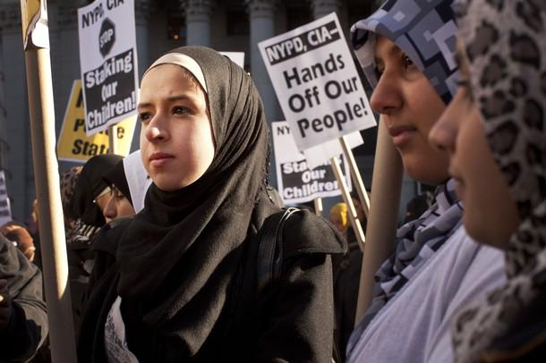 Muslim women protest in New York