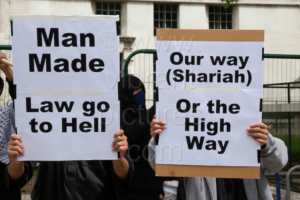 Pro-Sharia Law Demonstration outside Downing Street, London, UK, 20 June 2010