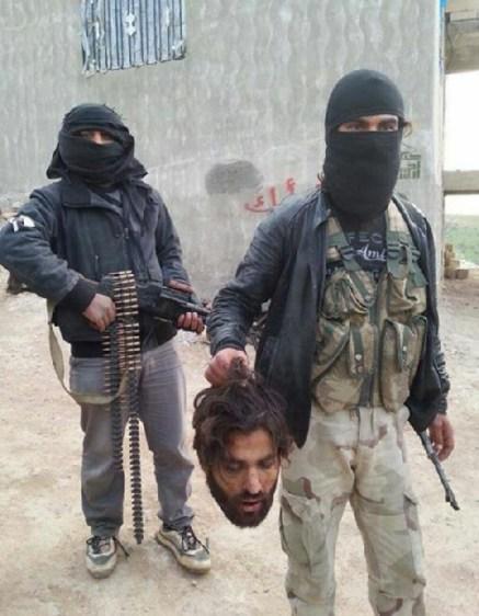 "Beheaded ""Nussayri"". Nussayris are actually  Alawites. Taking credit for it are ""Ahrar al-Sham, Jund al-Aksa and Mujahedeen al-Sham"