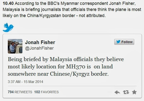 MH370 on China-K border
