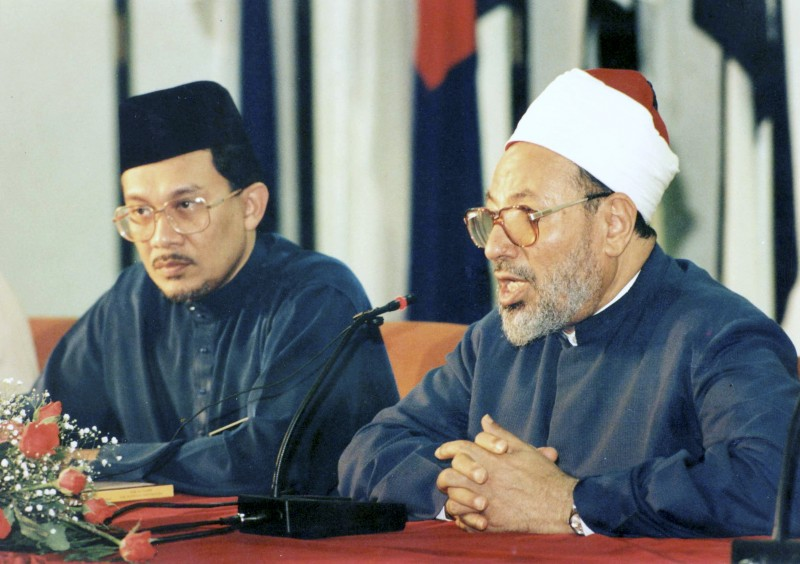 Anwar Ibrahim together with Muslim Brotherhood spiritual leader Yousset