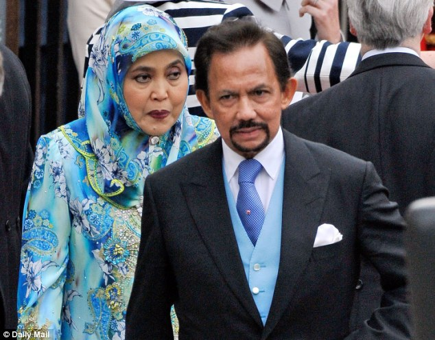 Sultan Hassanal Bolkiah, pictured with his wife at the wedding of the Duke and Duchess of Cambridge