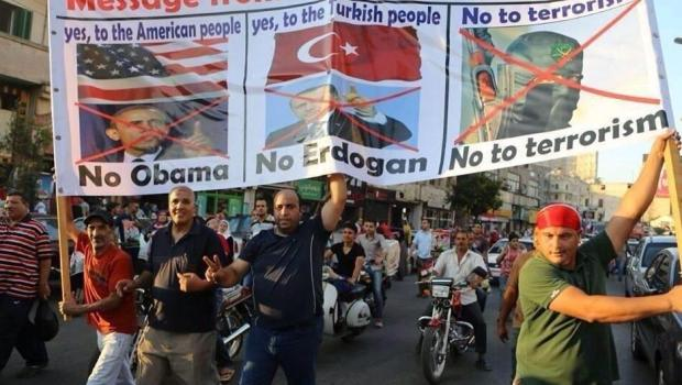 Egyptian supporters of ouster of Morsi, condemn Obama and Erdogan for their support of Muslim Brotherhood terrorists