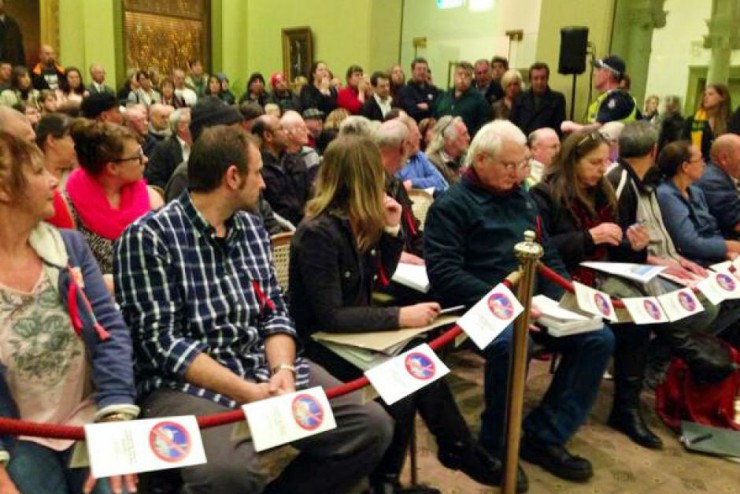 Bendigo residents opposed to the mosque packed the hall