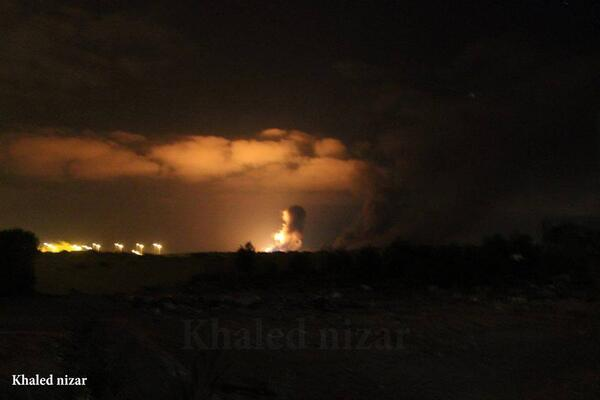 First picture of the Israeli raid on #Gaza tonight.
