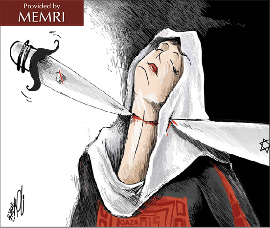 The Arab silence (left) and the Israeli knife (right) together slit Gaza's throat