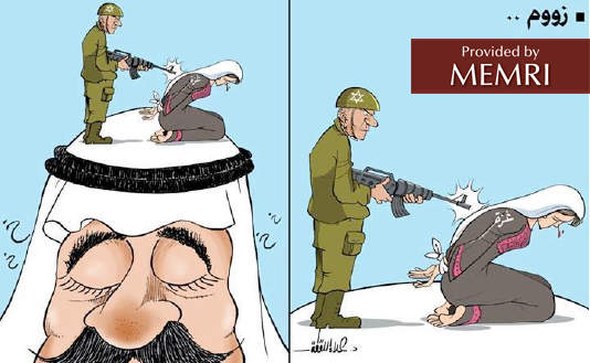 "The Israeli killing of ""Gaza"" (""zoom"") (right) takes place atop the head of the Arab who closes his eyes"