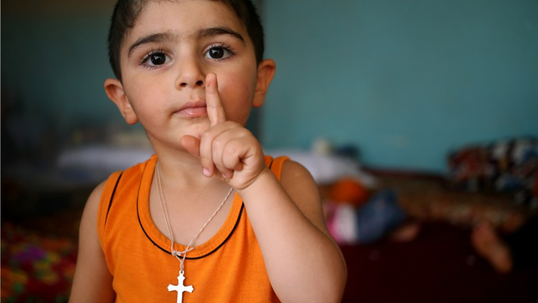A displaced Iraqi Christian boy
