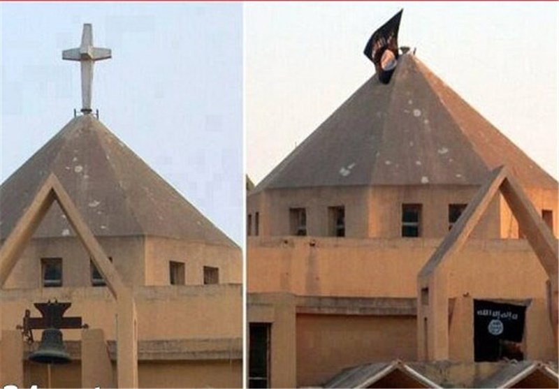 Since taking over Mosul on June 10, ISIS has destroyed, occupied, converted to mosques, converted to ISIS headquarters or shuttered all 45 Christian institutions in Mosul. Here, the cross has been replaced with the flag of jihad